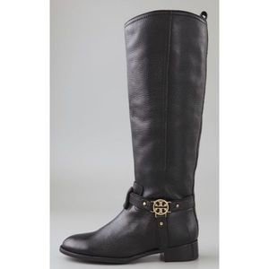 LN Tory Burch Black Leather Riding Boots